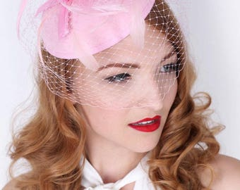 """Light Pink Fascinator - """"Juliet"""" Light Pink Round Felt Sinamay Hat w/ Feathers and Satin Ribbons"""