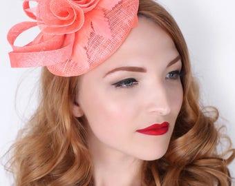 "Coral Fascinator - ""Emelia Rose"" Coral Fascinator Hat Headband w/ Round Sinamay Base"