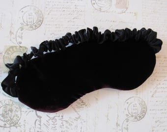Silk Velvet Sleep Mask in Dark Garnet // Silk Lingerie Eye Mask