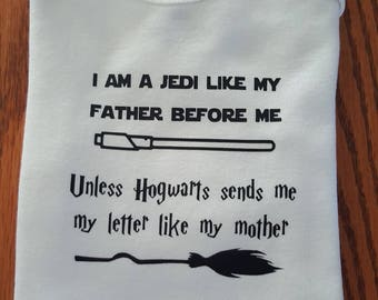 Star Wars, Harry Potter, Jedi Like My Father Hogwarts Like My Mother, Light Saber, Wizard, Personalized Baby, Unique Baby Bodysuit