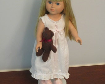 Eyelet Nightgown Teddy Bear and Knitted Slippers fits 18 Inch Dolls like American Girl - CINDY