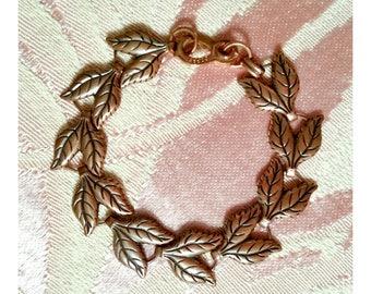 Vintage 70's COPPER Link Bracelet Autumn Leaves