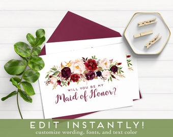 Will You Be My Bridesmaid Download, Will You Be My Maid of Honor Card, Bridesmaid Proposal, Ask Maid of Honor, Ask Bridesmaid