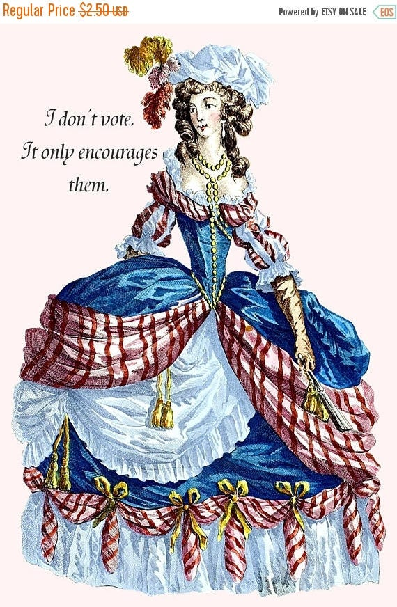 Vote. Red. White. Blue. Patriotic. Postcard. Card. Marie Antoinette. Marie Antoinette Wig. Marie Antoinette Dress. Marie Antoinette Wig.