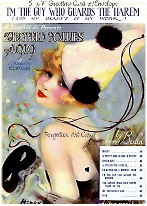 """Ziegfeld Follies 1919 I'm The Guy Who Guards The Harem And My Heart's In My Work Song Sheet 5""""x7"""" Greeting Card +Envelope Forgotten Art Card"""