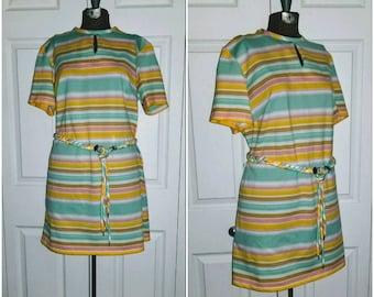 Eleanor Digby  .... vintage 60s 70s mini dress / stripe belted A line / mod Twiggy mad men / scooter waitress stewardess .... M L