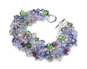 Purple Hydrangea Swarovski Crystal Cluster Silver Bracelet Lavender Mauve Amethyst Green Romantic Flower Garden Inspired Gift Idea For Women