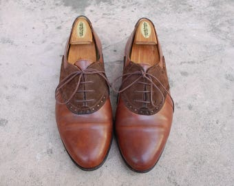 Vinatge Mens 10 Bragano Cole Haan Italian Lace Up Oxfords Brogues Saddle Dress Shoes Cognac Brown Nubuck Leather Two Tone Wedding Sneakers