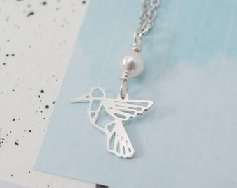 Hummingbird Necklace, Hummingbird Jewellery, Silver Hummingbird Necklace, Geometric Hummingbird, Hummingbird and Pearl Necklace, Gift