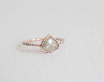 Grey Pear Rustic Diamond + Pavé Engagement Ring | Triangular Pear Rose Cut Diamond | 14k Recycled Rose Gold | One of a Kind