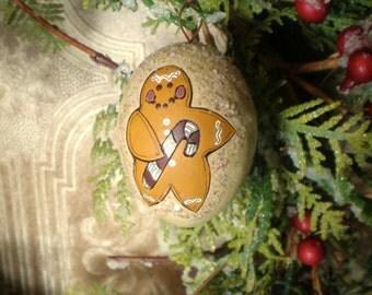 Gingerbread Man Christmas Ornament Ornie Hand Painted Gourd / Grungy Glitter Wood Burned Folk Art Holidays OOAK / Christmas Decor