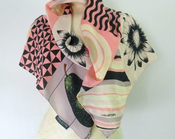 Halston Silk Scarf Large Square // Geometrics Stripes Fruits Flowers Abstract Print