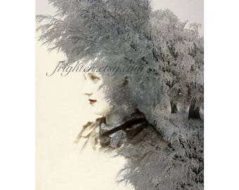 8.5 x 11 Inch Surreal Art Print, Ice Queen Altered Portrait, Avante Garde Decor, Mixed Media Collage, Winter Art
