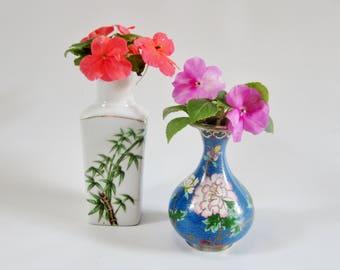 Vintage Pottery Vase Bottle CLOISONNE and BAMBOO Design MINI