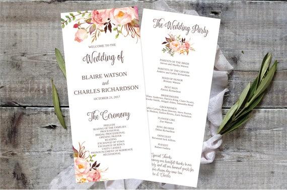 Printable Wedding Program 4x9 Template