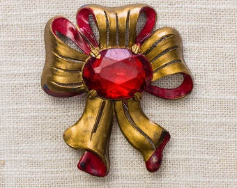 Red & Gold Vintage Bow Brooch 1920s - 1930s Art Deco Broach Vtg Pin 7ii