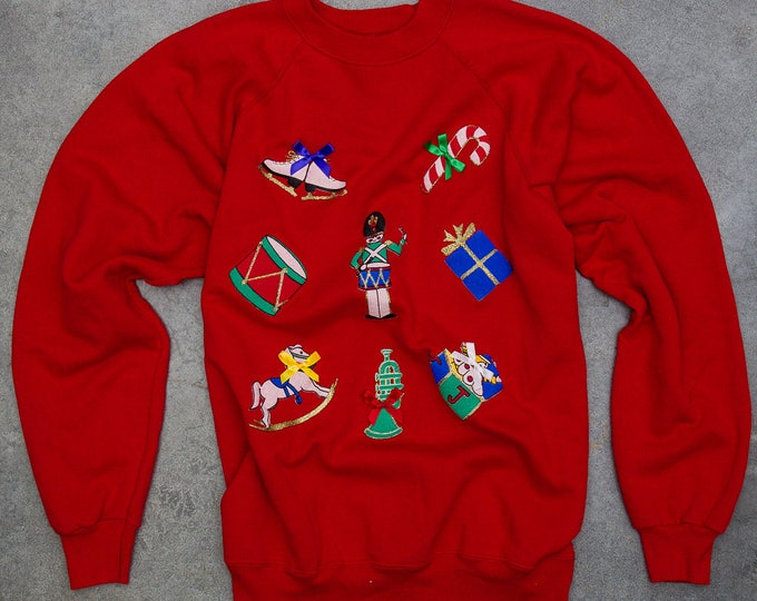 Red Vintage Ugly Christmas Sweatshirt Size XXL Oversized Winter Holiday Ugly Christmas Top 6CA