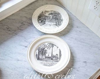 Vintage Pr Black Transferware Plates, Collectible