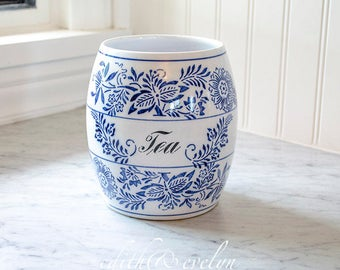 Antique Blue Onion Canister, German, Kitchenalia, Tea, Blue and White