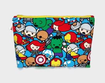 Large Zipper Pouch Marvel Kawaii Superheroes Avengers / Zipper Project Bag / Toy Bag / Knitting Pouch / Crochet Pouch S478