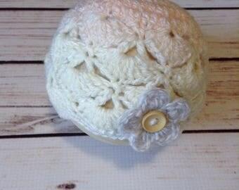 Pastel Infant Beanie, Flower Hat, Infant Hat, Wool Baby Hat, Cream Baby Hat, Soft Baby Hat, Baby Flower Hat