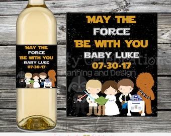Wine Bottle Label, Baby Shower Wine Bottle Label, Personalized Wine Bottle Label, Wedding, Bridal Shower, Star Wars Wine Label, Star Wars
