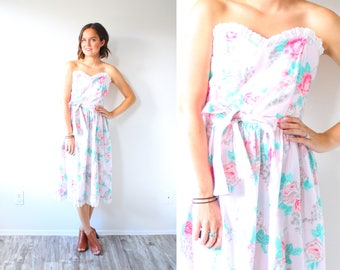 Vintage XS/SMALL boho floral strapless dress // pink floral dress // midi flower child dress // spring summer floral dress sleeveless dress
