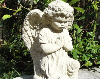 VINTAGE ANGEL STATUE Solid Stone Garden Art w/ Worn Texture. Sealed for Outdoor Use, Patio, Lawn, Yard. (O)