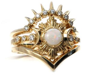 Opal Fire Moon Ring - Diamond and Yellow Gold Celestial Engagement Ring Set with Stacking Wedding Bands