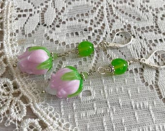 Pink flower Glass Lampwork Earrings - summer Flower Earrings - Botanical Jewelry - Nature Garden Inspired - Gift for here - Glass Earrings