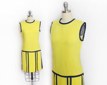 Vintage 1960s Dress - Neon Yellow Linen Carwash Flap Mod I.Magnin 60s - Small S
