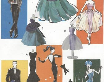 "11.5"" Vintage Fashion Doll Clothes Evening Gowns, Evening Suit Day and Evening 1950s for Ken and Barbie Vogue Sewing Pattern 7560 FF"