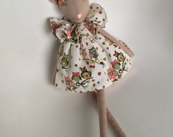 Cloth doll Fabric doll Rag doll Baby toy Kids gift Soft doll for girls Handmade toy  Baby shower gift  Embroidery flower doll