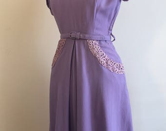 Vintage 50s Lilac Purple Dress with Lace and Rhinestones