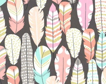 Michael Miller - Feather Fabric by the yard, metallic gold accents