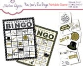 New Years Eve 2018 BINGO Printable Game, Instant Download, Black & Gold
