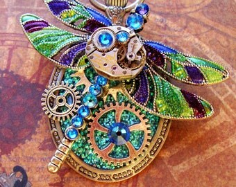 Steampunk Pin (P727) Dragon Fly Brooch, Hand Painted Sparkle Acrylic, Gears and Swarovski Crystals