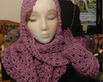 Lavender Scarf. Hand knitted and designed by Justaskjackie