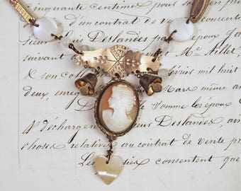 My Belle- Antique Cameo Assemblage Necklace- Mother of pearl, cuff links, watch chain, tiny bells- One of a kind- vintage collage