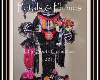 "PRE-ORDER for 2018 Delivery-Halloween Day of the Dead ""Día de los Muertos-La Catrina"" Character Stand Centerpiece-Petals & Plumes -40"" Tall"