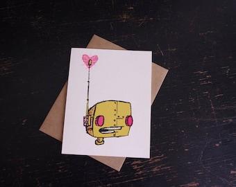 robot love card, cute robot card, robot card, robot valentine