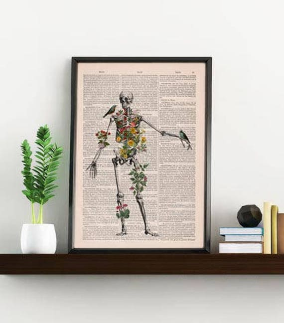 Christmas Sale Human Skeleton full of naure Doctor student gift Anatomy Print Anatomical decoration science & anatomy art, Biology SKA142