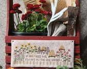NEW! HEARTSTRING SAMPLERY Bee Garden counted cross stitch patterns at thecottageneedle.com