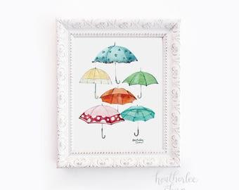 Umbrella Collection - Watercolor Art Print