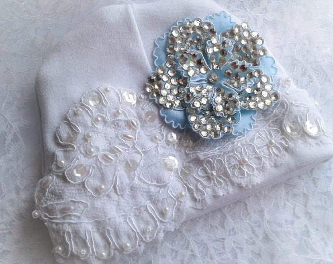 Newborn Baby girls Rhinestone lace Hospital Hat Beanie
