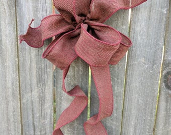 Bow Wired Ribbon, Burgundy Wreath Bow, Fall, Christmas, Winter, Primitive Decor, Wreath, Lantern, Wedding Decor, Rustic Wreath Bow