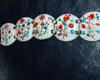 Vintage 1960's   Enameled Copper Link Bracelet a la Renoir or Matisse Unsigned Gorgeous Spring Colors Excellent Condition