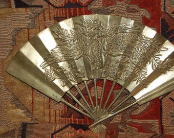 Solid Brass Decor Brass Fan Wall Hanging Golden Pheasant Highly Decorative Brass Vintage 1970's Wall Hanging Fan Motif