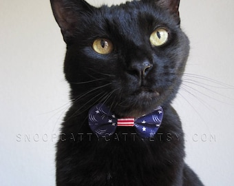 Girl Cat Bow Tie - Stars and Stripes Forever