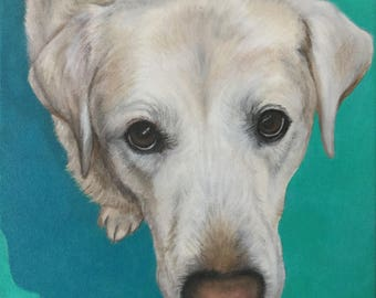 pet portrait painting on canvas from photo acrylic original yellow labrador retriever dog gift